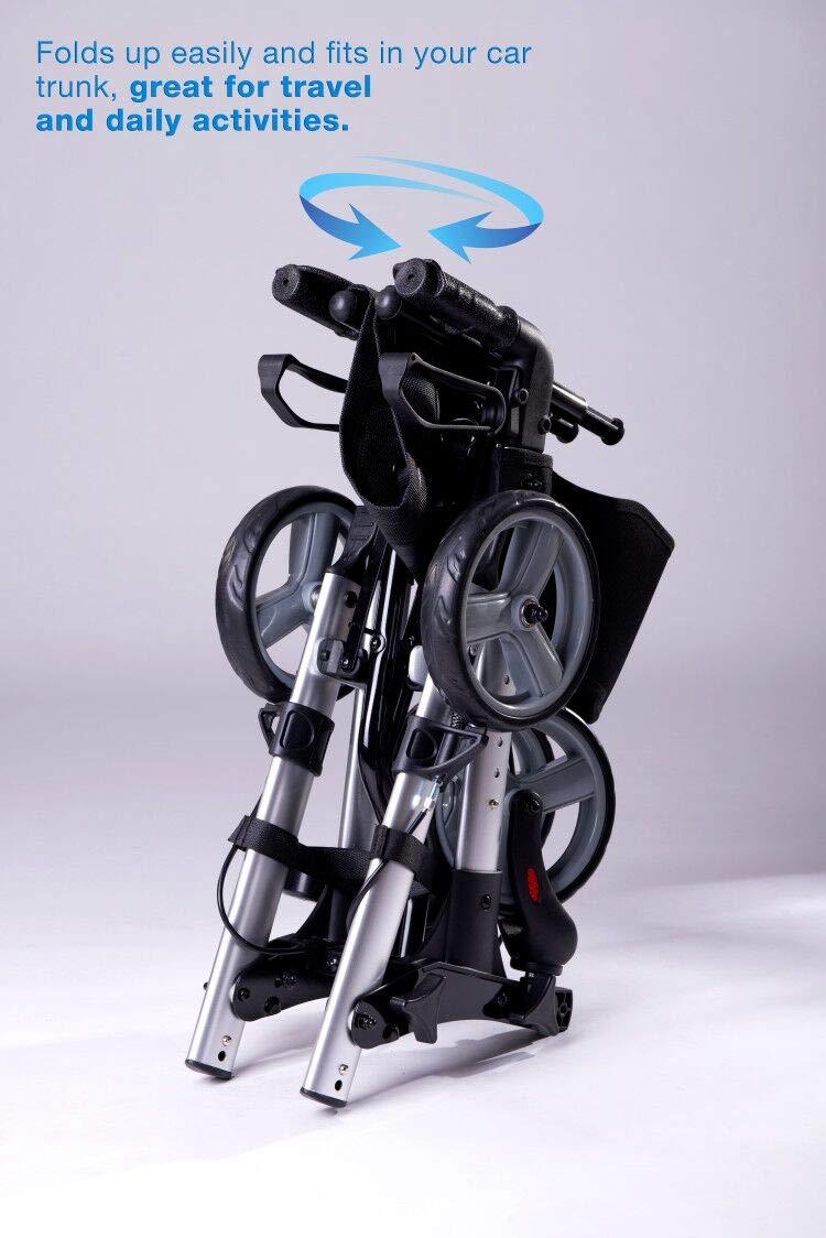 Re 420l Folding Rollator Walker With Seat Saddle Bag